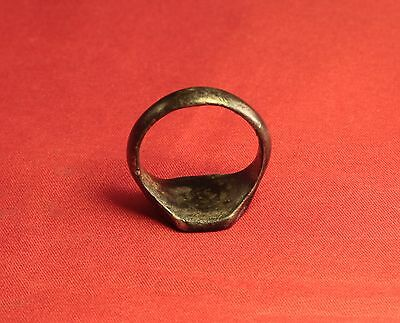 Big Medieval Bronze Knight's Seal Ring - 14. Century - Lily Sign! 7