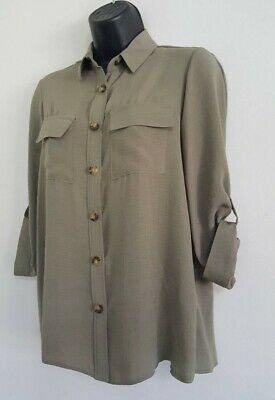 NEW ex DP Khaki Green Button Up Collared Casual Loose Fit Blouse Shirt Top 8-16 4