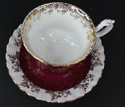 Royal Albert Regal Series Burgundy Footed Cup & Saucer Bone China 4396 Mint 4