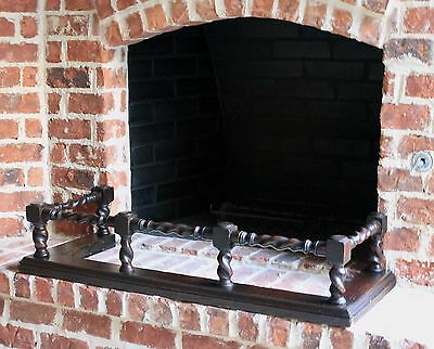 Antique English Oak Barley Twist Fireplace Fender Hearth Surround 7