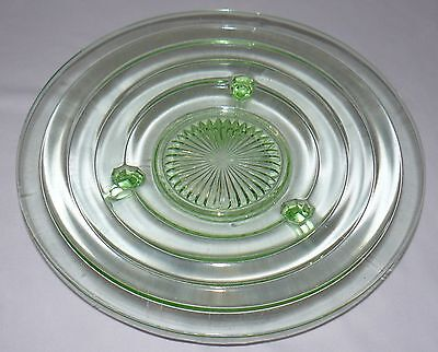 """Lot Set Of 2 Green Glass 11"""" Footed Plate Bowl 12"""" Plate With Handles Party Dish 3"""