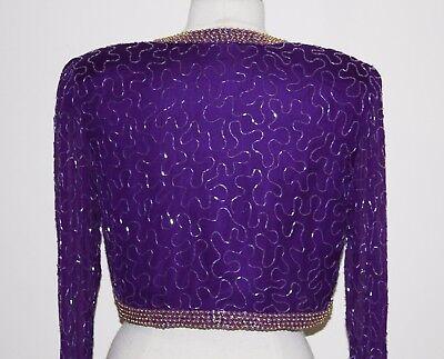 Jasdee Vintage Bolero Jacket Long Sleeve Hand Work Beading On Silk Chiffon  #245 3