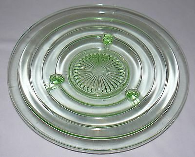 """Lot Set Of 2 Green Glass 11"""" Footed Plate Bowl 12"""" Plate With Handles Party Dish 4"""