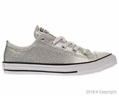 Details about Junior Converse All Star Chuck Taylor Silver Glitter Low Sneakers [641727C]