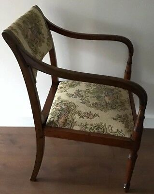 Antique Regency Mahogany Carver Chair With Downswept Arms And Lift Off Seat 2