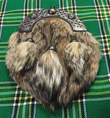 New Full Dress Kilt Sporran Fox Fur Celtic Cantle Antique/Scottish Kilt Sporrans 2