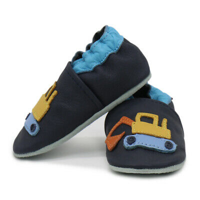 carozoo excavator dark blue soft sole leather slippers up to 8 years old 4