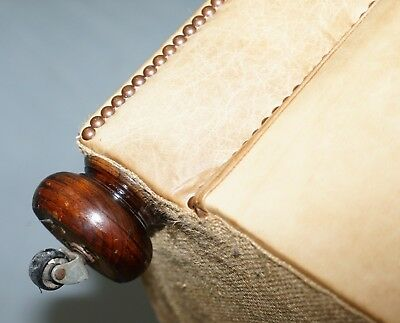 1 Of 2 Vintage Victorian Style Restored Brown Leather Club Sofas Coil Sprung 12