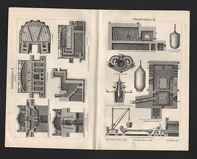 Lithografie 1905: GlasfabrikationI-III Schmelzöfen Formgebung Glas Glasindustrie 2