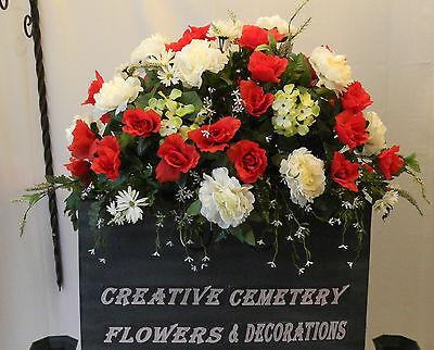 5 memorial cemetery silk flower headstonetombstone saddles with 2 of 3 5 memorial cemetery silk flower headstonetombstone saddles with floral foam mightylinksfo