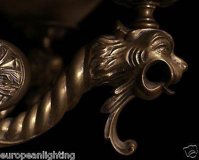 chandelier two-tier solid bronze & real alabaster lion head sculptures 11
