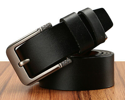 Men's Greek Key Metal Buckle Handcrafted Needlepoint Genuine Leather Jean Belt 3