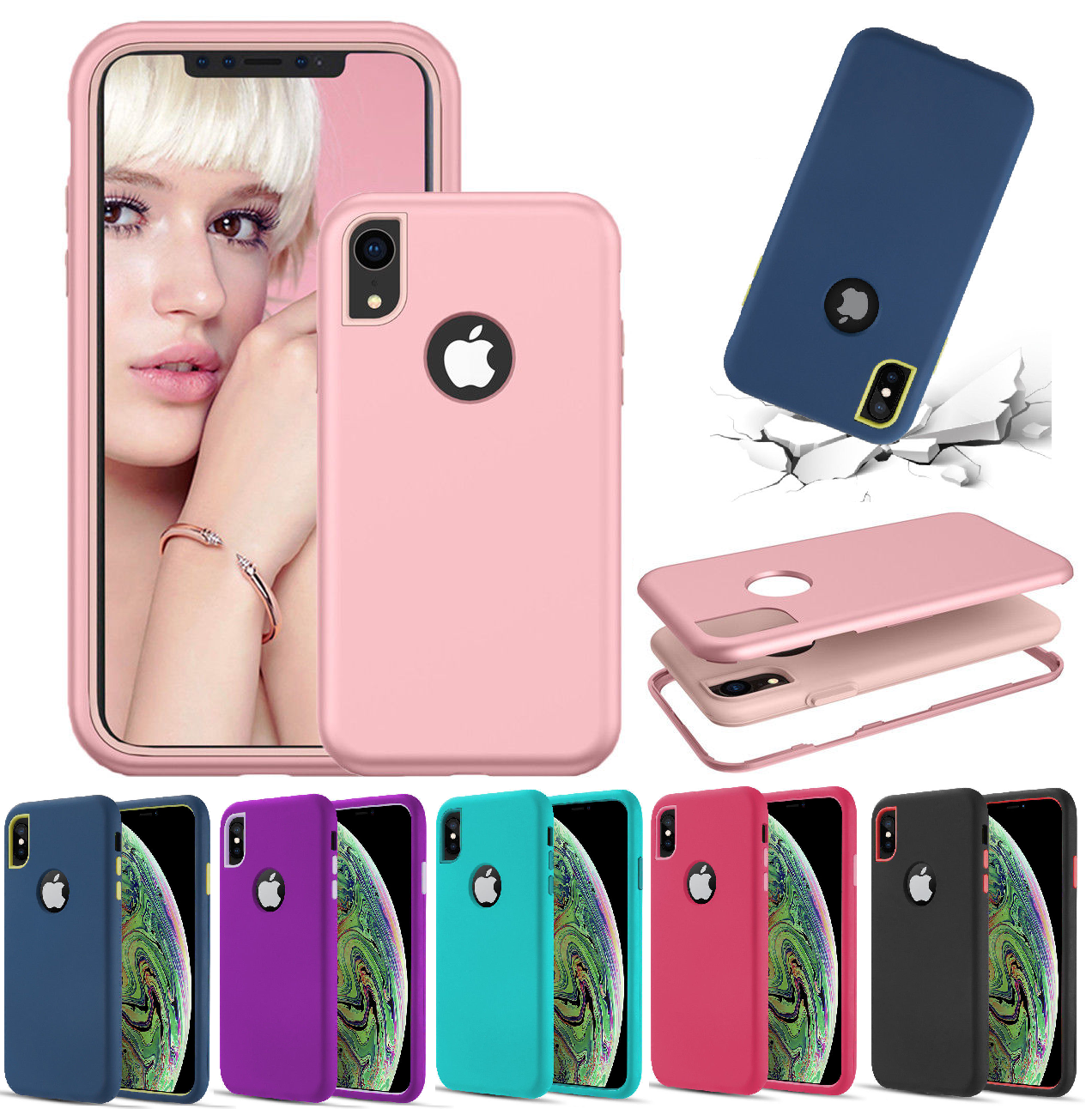 For iPhone XR XS Max X 8 7 6 Plus Protective Heavy Duty Hybrid Rugged Case 2