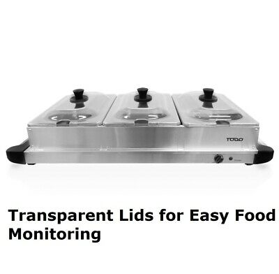 Buffet Food Warmer Electric Server 3 Tray Large Bain Marie Stainless Steel New 4