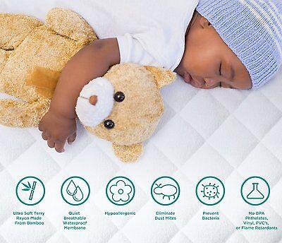 NEW TRU Lite Crib Mattress Protector, white, bamboo, waterproof, hypoallergenic 2
