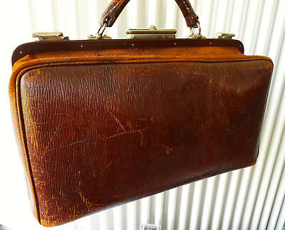 SFS Antike Leder Arzttasche Doktor Tasche Sacvoyage Hebammentasche um 1900 7