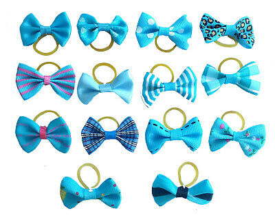 20Pc Mixed Hair Bows W/Rubber Bands For Small Dog Cat Grooming Bowknot Accessory 6