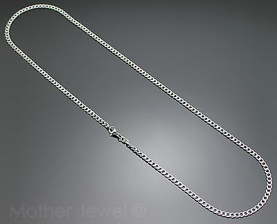 50Cm Silver 316L Stainless Steel 4Mm Curb Chain Mens Womens Unisex Necklace 5