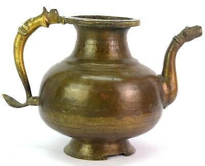 Antique Handcrafted Old Indian Rare Mughal Brass Pot/Vessel With Spout. G3-50 US 2