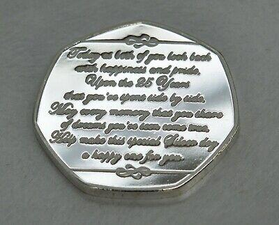 25th SILVER WEDDING ANNIVERSARY Fine Silver Commemorative. Gift/Present 25 Years 5