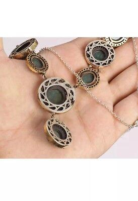 Gorgeous!  Antique Vintage Silver Malachite and Topaz  Necklace (50Gram).