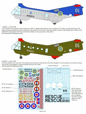 """Print Scale 72-118 Wet Decals for Piasecki H-21 /""""Shawnee/"""" Scale Decals 1//72"""