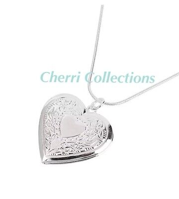 """925 Sterling Silver Heart Necklace, Locket Photo Picture Pendant 18""""  N1 3"""