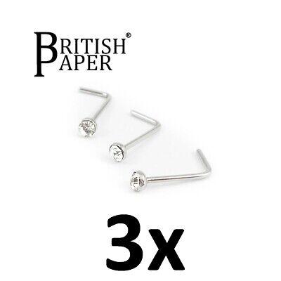 Uk Silver Nose Stud Straight I L Screw Shape Surgical Steel Pin Set Bar Piercing 7