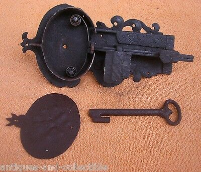 Antique 19c OTOMAN slide bolt latch LOCK with KEY - Handmade - Smith made 3 • CAD $423.72