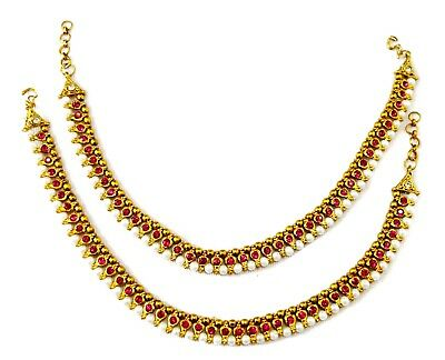Fashion Jewelry Jewelry & Watches Indian Bollywood Sleek Antique Gold Tone Pearl Anklet Payal Wedding Jewelry For Fast Shipping