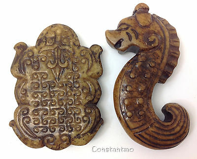 Old Chinese Jade Hand Carved Seahorse And Lucky Toad Gift Set 2