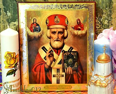St.Nicholas the Wonderworker Russian Orthodox Icon Silver Gold double embossing 4