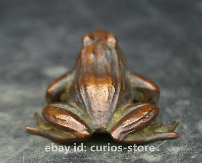 57MM Collect China Bronze Unique Mascot Frog Conforming To Good Taste Statue 3