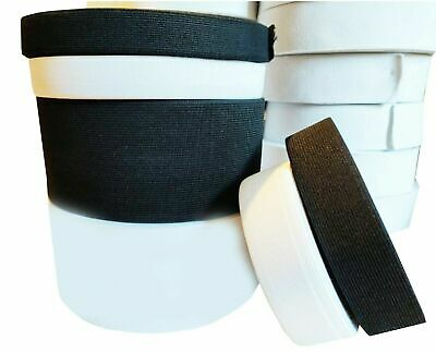 4 8 10 15 20 35 40 60mm Flat Black Woven Elastic Tape Stretchy Band Made Europe 3