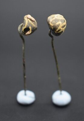 Group of 2 ancient Phoenician decorated glass pins 2nd - 1st millennium BC 6