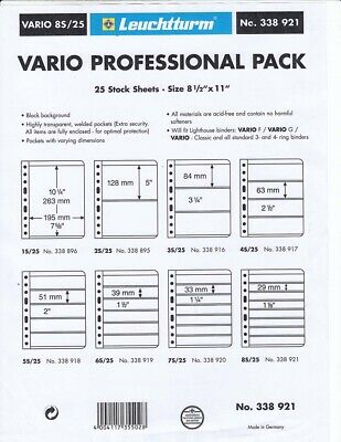 Lighthouse Vario 8S Stock Stamp Pages 8 Rows Professional 25 Black NEW Sheets 3