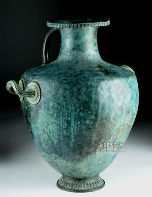 Stunning Greek Bronze Hydria w/ Siren Handle Lot 17