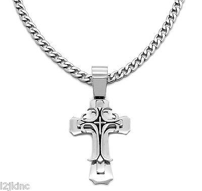 "24/""MEN Stainless Steel 7mm Silver Cuban Curb Necklace Bracelet Cross Pendant*P64"