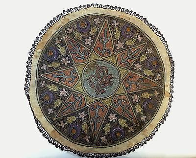1880's ultra Antique Embroidery Ottoman Tughra Metallic Thread Turkish Tinsel 3