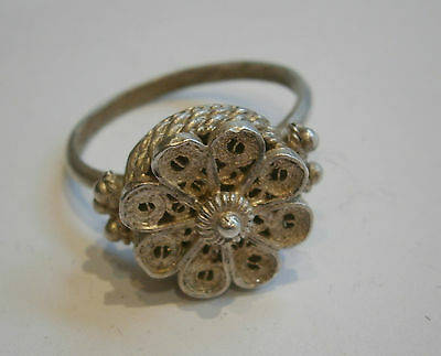 ANTIQUE OLD BEAUTY STERLING SILVER RING FILIGREE JEWEL HAND MADE 1900's