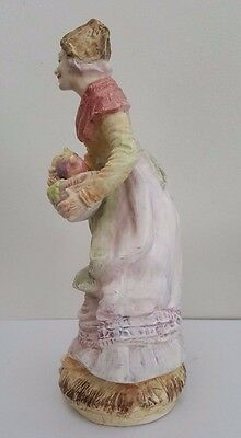 Antique European Bisque Porcelain Fruit Seller Figurine / Statue 3