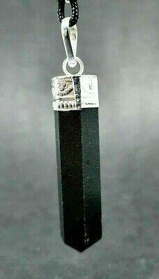 Noir Tibétain Tourmaline Pendentif Gemme Scalar Schorl Protection Cordon Collier