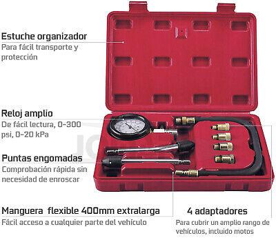 Compresimetro Gasolina 8 Pzas Medidor De Compresion Con Adaptadores + Linterna 2
