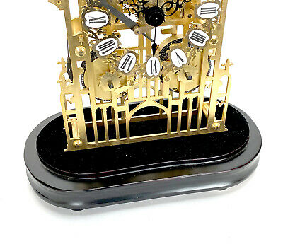 Large English Style Cathedral Crown Escapement Fusee Striking Skeleton Clock 10