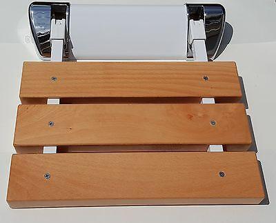 """Design Duschsitz """"Buche Comfort"""" - Alu-Halterung, hohe Belastung 150 kg fürs Bad"""