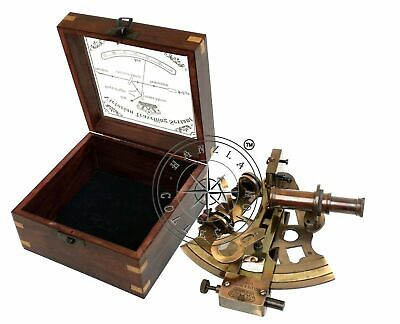 Antique Brass Working Nautical Sextant Vintage Maritime Astrolabe Wooden Box NEW 9