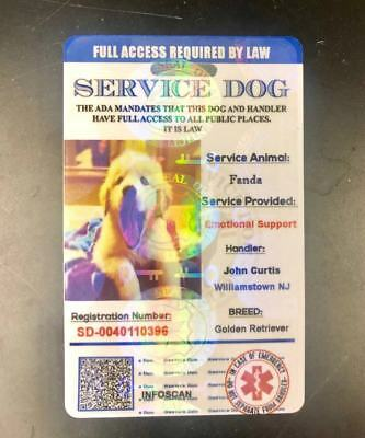 ADA Service Dog Card ID Badge Assistance Animal Badge ESA Holographic Charity 3
