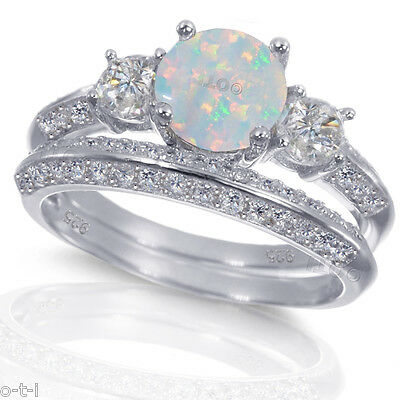 1cd8b86e96214 WHITE GOLD STERLING Silver Round Cut White Fire Opal Wedding Engagement  Ring Set