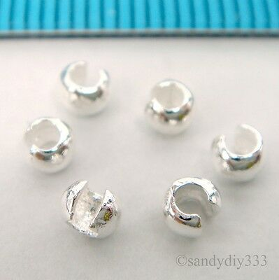 20x BRIGHT STERLING SILVER CRIMP BEAD KNOT COVER 3mm #2231 2