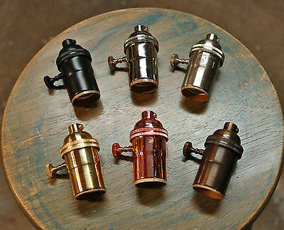 Solid Brass Light Socket 6 Finishes, Vintage Industrial Lamps Pendants 3way Knob